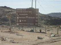 Sign going from Rosh Pinah to Fish River Canyon